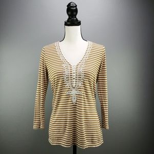 J. Crew Embroidered Henley Brown  & White Striped